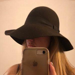 AQUA Brown Floppy Wide Brim Hat